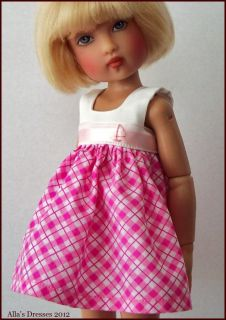By Alla White Pink Dress Outfit Clothes for Bethany 12 Kish BJD Doll
