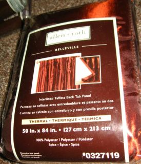Allen Roth Belleville Curtain Drapery Drape Back Tab Panel 59x84