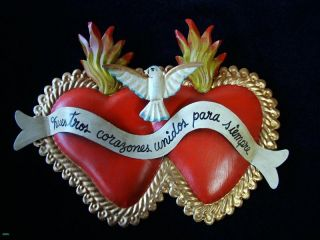 Twin Sacred Love Hearts with Dove and Banner Tin Art Mexican Folk Art