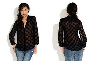 Alexa Chung for Madewell Annie Black Velvet Polka Dot Blouse Sz s RARE