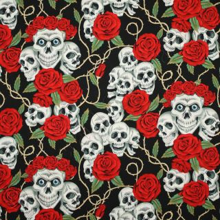 Alexander Henry The Rose Tattoo Black Skull Goth Cotton Fabric 18x44