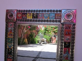 Tin Talavera Mirror Day of The Dead Punched Mexican Folk Art Mirrors
