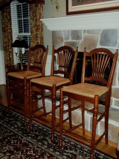 Ethan Allen Solid Cherry Counter Bar Stools Maison Renee Rush Seats