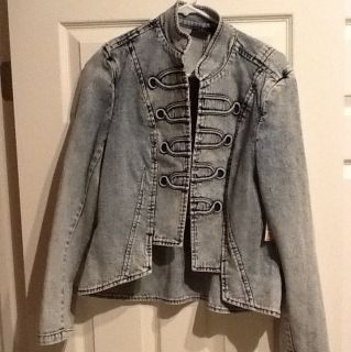 Allen B Denim Jean Jacket Sz L NWT Acid Wash Michael Jackson Style 80s