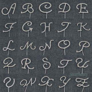 Alphabet Letter Rhinestone Crystal Monogram Wedding Cake Topper