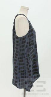 Alice & Olivia Black & Slate Print Silk Racerback Dress, Size XS