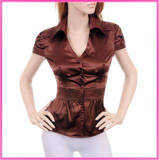 W101 Allison V Neck Satin Collar Top Career Dress Shirt