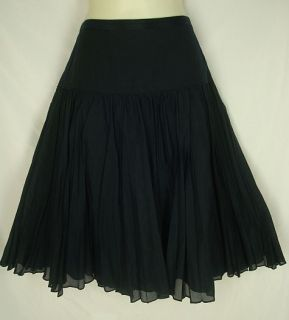 Crew Navy Blue Cotton Silk Pleated Skirt Lined Aline XS 1337