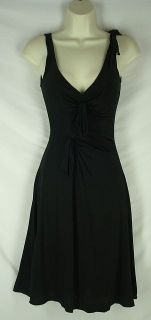 XS Rebecca Taylor Black Silk Jersey Dress Ruffle Aline 2 4 Womens 1193
