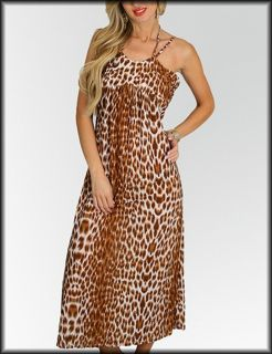 Size 2X DRESS Womens Plus Brown LEOPARD Animal Print ROMAN FASHION NWT
