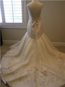 Allure Wedding Dress Bridal Gown Gold Taffeta Silver Lace Up Corset 12