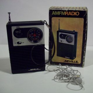 Vintage Seville Transistor Am FM Pocket Radio w Box Headphones