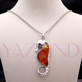 Fashion Sea Horse Cute Amber Bead Pendant Chain Necklace Multi Color