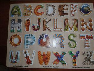 Melissa Doug Large Wooden Tray Jigsaw Puzzle Alphabet Art Puzzle