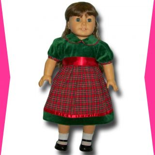 Doll Clothes Fit American Girl Green Velvet Red Plaid Dress Holiday