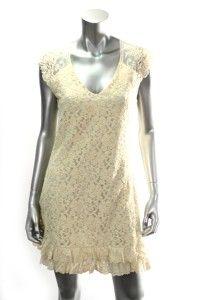 American Rag Knit Ivory Lace Womens Sleeveless Dress Sz L