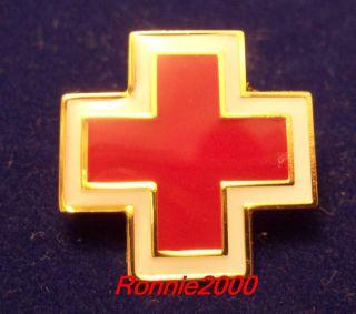 Large Enamel Cross Flat American Red Cross Pin Brand New