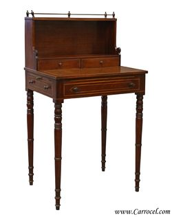 Antique Mahogany Secretary Desk Writing Telephone Table
