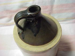 Brown White Half Gallon Stenciled Jug John Dudor Perth Amboy NJ