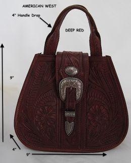 American West DEEP RED HandTooled Leather Saddle Purse Handbag