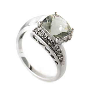 14k White Gold Diamond Green Amethyst Ring