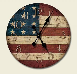 Western Lodge Cabin Decor Americana Wood Wall Clock