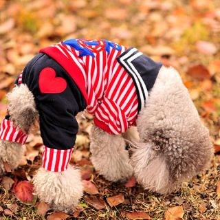 Colors Red/Blue Sailor Suit Navy Dog Pet Clothes Summer Puppy