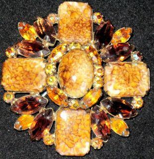 Hattie Carnegie Amber Rootbeer Rhinestone Stone Cabochon Vintage Pin