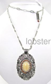 Design Exotic Amber Silver Pendant Necklace Swarovski Crystal