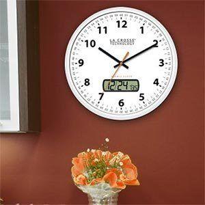 La Crosse Atomic Analog Digital Wall Clock LCD Display Time Zone Home