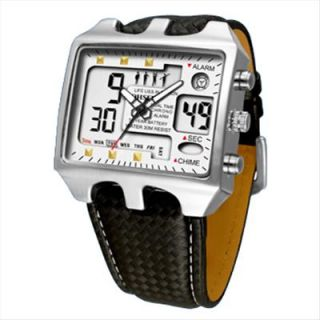 OHSEN Mens ALARM CLOCK LIGHT LEATHER Sport Digital Analog Waterproof