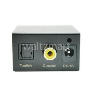 Analog RCA Aux to Digital Optical Coax Coaxial Toslink Audio Converter