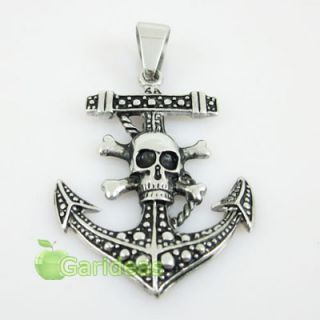Mens Stainless Steel Skull Skeleton Anchor Chain Pendant Necklace