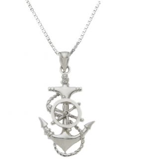 925 Sterling Silver Ships Anchor Helm Steering Wheel Charm Pendant