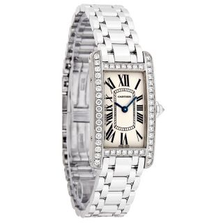 Cartier Tank Americaine Diamond Ladies 18K White Gold SwissQuartz