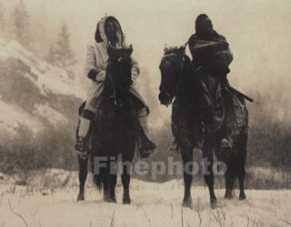 1900 72 Big Native American Indian Montana Winter Snow Horse Photo Art