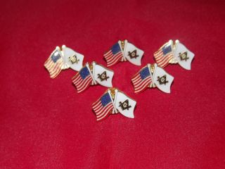 Lot of 6 Double Flag Hat Lapel Pins American Masonic Flags