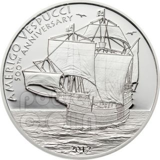 AMERIGO VESPUCCI Explorer Sailing Ship 500th Anniversary Silver Coin 5