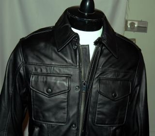 NWT ANDREW MARC MENS BLACK ZIP LEATHER JACKET L