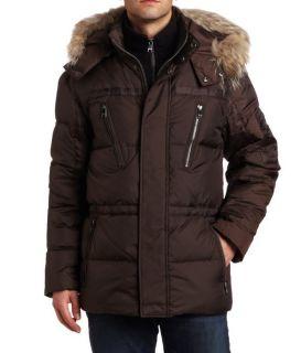 Andrew Marc Mens Hudson Down Parka Fur Trim Brown Coat X Large Retail