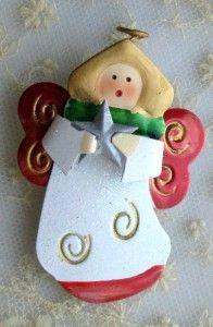 vintage style christmas angel metal brooch pin