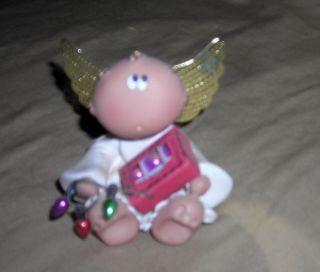 Kirks Kritters Angel Cheeks Ceramic Angel Figurine Ornaments Lights
