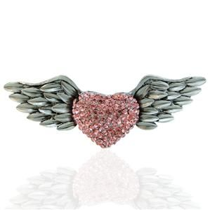Vintage Style Angel Wing Love Heart Pin Brooch Rhinestone Crystal Pink
