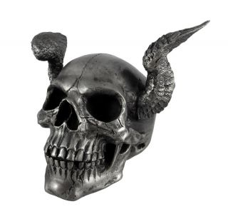 this awesomely evil angel winged skull figure statue is highly