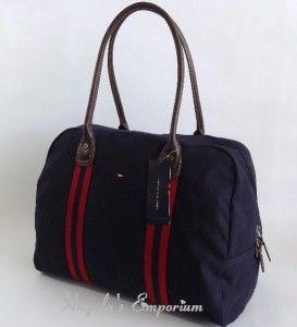 Tommy Hilfiger Davis Canvas Large Travel Tote Bag Navy