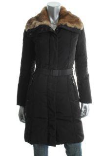 Andrew Marc New Black Belted Rabbit Fur Coat XS BHFO