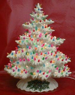 Ceramic Christmas Tree Milk Glass Multi Color Bulbs Beautiful