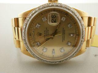 18038 Day Date 18K Watch with Custom Diamond Dial Bezel Nice