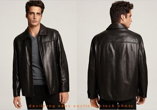 NEW YORK Mens Campbell Lambskin Black Leather Jacket XXL Andrew Marc