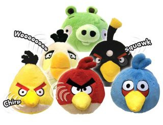 Angry Birds Noisy 4 Inch Plush Soft Toy Red, Black, Yellow with Sound